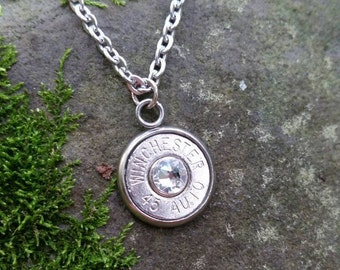 Winchester 45 Auto Bullet Head Necklace with Crystal, Country Girl Jewelry, Redneck Girl Jewelry, Country Necklace, Bullet Jewelry