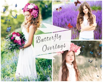 40 Photoshop Butterfly Overlays,  Photoshop Overlays, Texture, Digital Backdrop, Butterfly Overlay, Butterflies, Instant Download