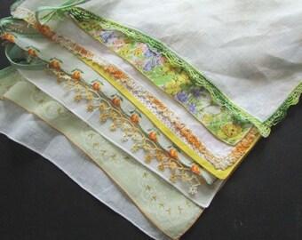 Wedding Garland Vintage Handkerchief Garland Yellow and Green
