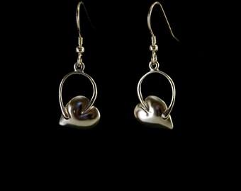 Curled stem leaf drop earring in 925 sterling silver