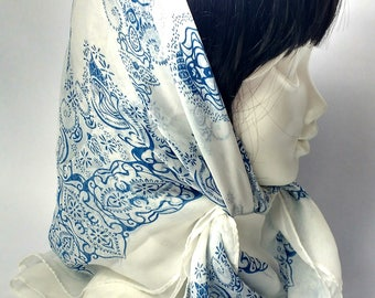 Vintage Blue and White Silk Scarf with Paisley Print