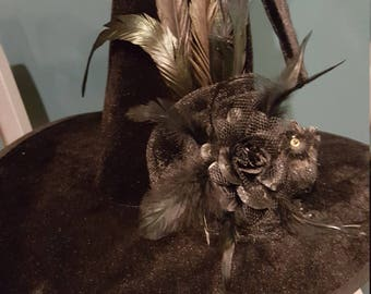 Black Witches Hat Black Wizard Hat Black Feather Flower Owl Witches Hat Halloween Witches Costume Witches Headdress Witches Headpiece