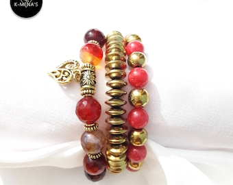 Red Stone Bracelet Stack