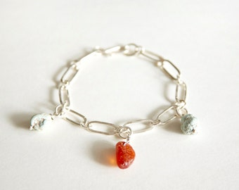 Handmade Lapis Lazuli and Amber Beads with 925 Silver Bracelet