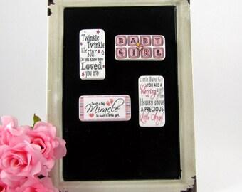 Baby Girl Magnets - Newborn Gift - Nursery Decor - Baby Shower Gift - Baby Shower Prize - Domino Magnets - Baby Gift - Stocking Stuffer