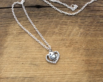 """Love little chicky in an open heart charm necklace on 18"""" cable chain"""