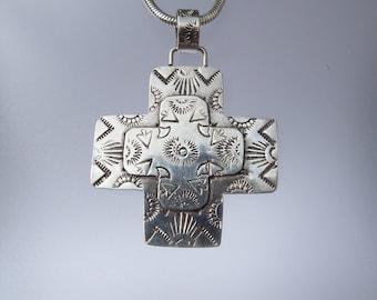 Sterling Silver Cross Pendant /  Southwestern Jewelry /  Stamped Cross Pendant / Navajo Style Cross