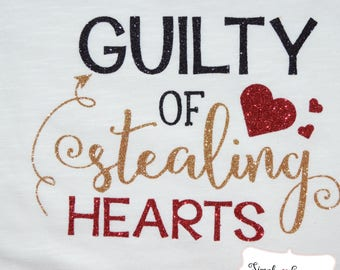 Guilty of Stealing Hearts, Valentine's Day, Baby Child Onesie Shirt