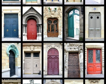 Paris Photography, Parisian Doors, Doors of Paris, France Door Collage, Photo Print, French Home Decor, French Wall Art, French Architecture