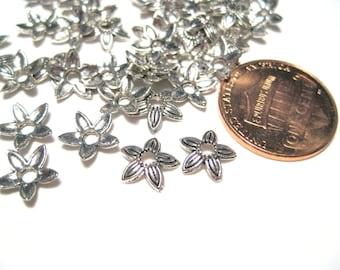 100pcs Antique Silver Flower Bead caps 8mm