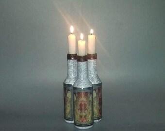 Art Deco Grey Patterned 3 Candle Candelabra/Vase