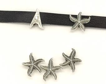 5 STARFISH Slider Beads / Slide Beads / Bracelet Bead / Slider Charm / Beads for Leather / Flat Leather Beads / Leather Charm / Slide Beads