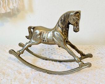 Brass Rocking Horse / Brass Gift / Brass Animal / Nursery Decor / Baby Shower Gift