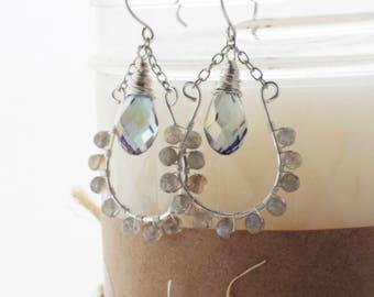 Labradorite Wire Wrapped Earrings - Labradorite Earrings - Natural Stone Earrings - Wire Wrapped Earrings - Silver Dangle Earrings