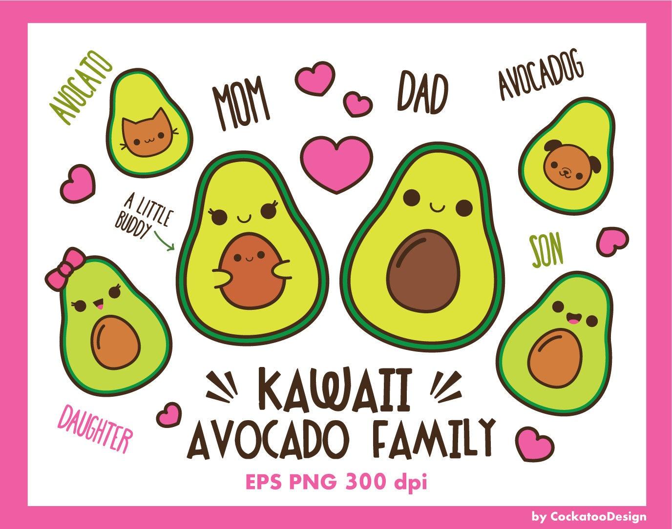 Avocado clipart kawaii avocado clip art cute avocado clip