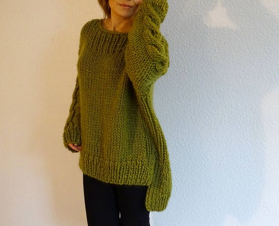 loose oversized to knit olive slouchy jumper cable made bulky knit braided sweater wool sweater slouchy order knit sweater sweater SSrwqTx8