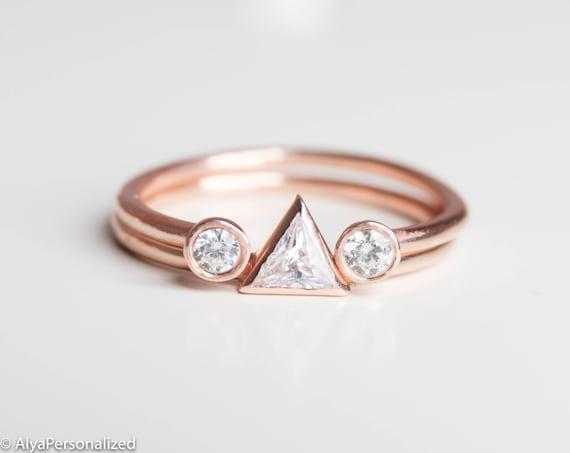 Trillion Cut Diamond Engagement Ring Modern Wedding Ring Set