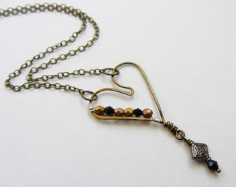 Hammered Brass Heart Necklace, Brass Copper Black Beaded Rustic Heart, Hand Formed Heart