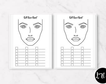 PRINTED Coloring Face Chart Insert Colored Pencil Skin Chart