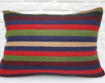 kelim kissen, kilim pillow, 20x28, striped, Turkish pillows, Anatolian, throw, cushion cover, multicolor, handmade, lumbar, pillow, woven 46