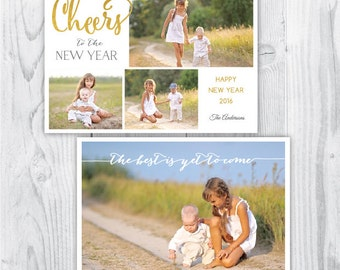 New Year photo template / New Year photo card / Gold New Year template / cheers to the new year / photo template photographers / PSD