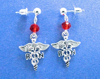 Unique Thank You Gift for Nurse RN Dangly Caduceus Earrings