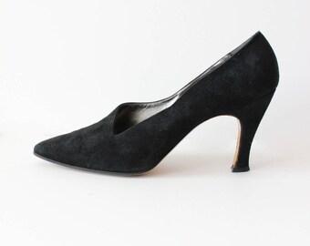Vintage 1980s Black Suede Anne Klein Couture Heels, size 9.5