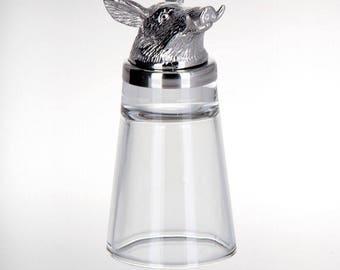 Figurine-shot Glass wild Boar stand-stainless steel/Glass Boar