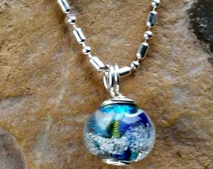 Trillium Petite Galaxy Memorial Necklace, Ashes in Glass, Pet Memorial, Cremation Jewelry