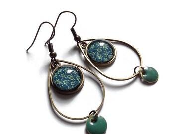 Pendant drop earrings * emerald green floral *, hanging, birthday, gift, ceremony, lafeecarabochon