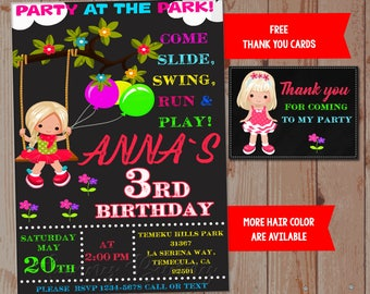 Park birthday invitation Park party invites Park invitation Spring summer kids playground party supplies Toddler birthday outfit Thank you