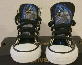 "Customized Converse Shoes-""Batman""/ Customized Chuck Taylors"
