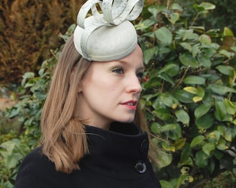 Flowers Blooming in the Snow Ivory and Pale Green Cocktail Hat