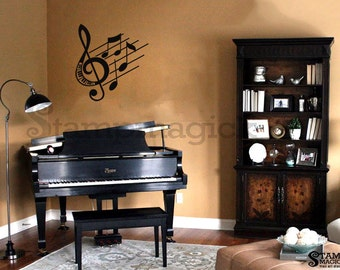 Music Notes Wall Decal - music symbol G clef vinyl wall art decor graphics sticker - K128