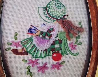 Crewel Kit of Girl in Bonnet Reading a Book--INCLUDES FRAME
