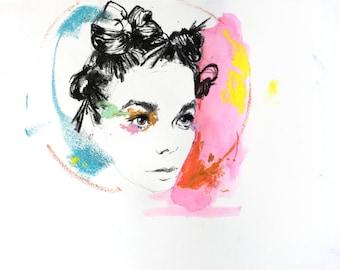 "Björk Pastel - 10"" x 8"" Original"