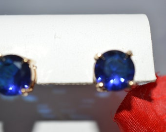 Joan Rivers Faceted Dark Blue Crystal Earrings Signed ships in 24 Hrs