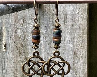 Bronze Earrings, Blue Earrings, Celtic Earrings, Rustic Earrings, Nature Earrings, Tribal Earrings Ethnic Earrings, Earthy Earrings, Boho