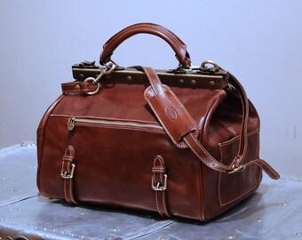 Leather Travel Bag, Leather Duffel Bag, Weekender Bag, Gladstone Bag, Overnight Bag, Cabin Travel Bag, Gym Bag, Floto Positano (5132)