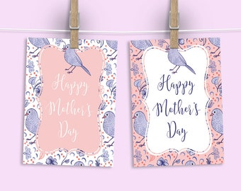 "Mother's Day Signs. Pink Bird Theme. Mother's Day Brunch Sign. 8x10"" in two colors. *INSTANT DOWNLOAD*"