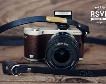 Custom Leather Camera Strap, Handmade personalized gift, Black leather stain, hipster, whimsical, mirrorless, Custom text name initials