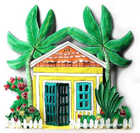 Caribbean Home Decor: Painted Metal Caribbean House Tropical Decor Garden Decor