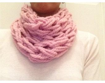 Handmade. Cowl Scarf. Arm Knitting Yarn. Lion Brand Yarn. Blossom. Fall Scarf. Winter Scarf. Wool Scarf. Gifts For Her Under 30.