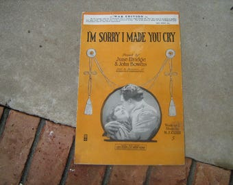 1918   vintage sheet music  (  i'm sorry i made you cry ) WW1 edition
