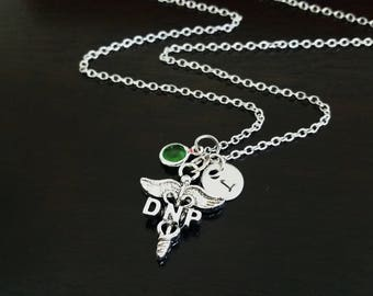 DNP Doctorate of Nursing Practice Nurse Practioner Handstamped Personalized Crystal Birthstone Initial Necklace