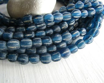 blue melon glass lampwork beads,  blue glossy translucent melon wavy rustic  aged look , indonesian  -  9 to 11mm  ( 12 beads) 7ab9-4