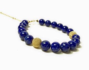 Bracelet Lapis-lazuli – Or jaune 14 ct*, câble, perles brillantes Or 14 ct*, pierres fines naturelles, semi précieuses