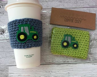 Tractor Cup Cozy, Country coffee Cozy, Crochet Coffee Cozy, Coffee Sleeve, Drink Sleeve, Farmer Gift, Gift under 10, Party Favor