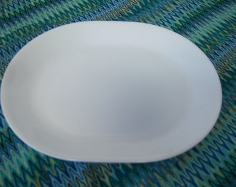 "Corelle Winter White Frost, One Serving Platter, 12.25"" x 10"", Pre-Owned, Good Used Condition, Retro Dining, Vintage Corelle"