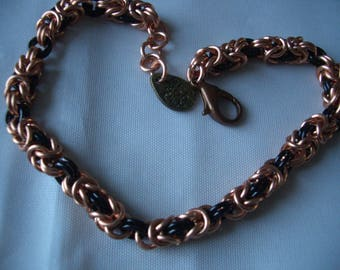 Two colour Byzantine chainmaille Bracelet in copper and black
